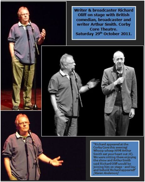 On stage at the Core Theatre, Corby, during a brilliant performance by Arthur Smith. Saturday 29th October 2011