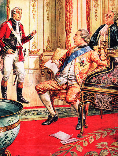 King George III is informed about the loss of the American Colonies (C L Doughty)