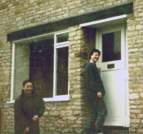 March 1984. It's ours! Turning the key for the first time. That's my Madeline on the left. We'd moved out of 47 Finch Hatton Drive in Gretton the previous autumn and had spent an incredibly cold winter as a guest of Sir John Conant at Lyndon Hall, Rutland. We often played with their little dog, a wire haired Jack Russell, called Ruskin. It was there, on a cold winters night that Madeline thought of our house name: Threeways. In the meantime, all of our belongings had been stored at the Hatton Arms bandroom in Gretton courtesy of the lovely Sue Blood.